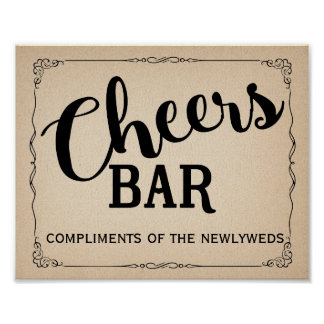 Bar sign, cheers, wedding sign, free bar, wedding poster