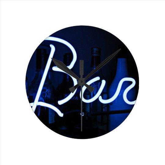 bar sign , cool blue lit neon light