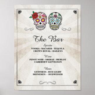 Bar Sugar Skulls Rose Sign Wedding Party Halloween Poster