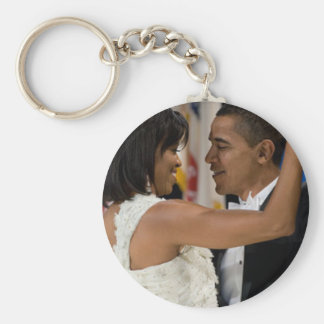 Barack and Michelle Obama Basic Round Button Key Ring