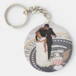 Barack and Michelle Obama Basic Round Button Key Ring