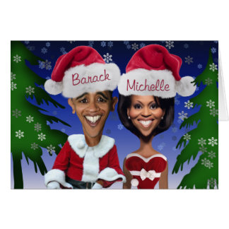 Barack and Michelle Obama Caricature Holiday Greeting Card
