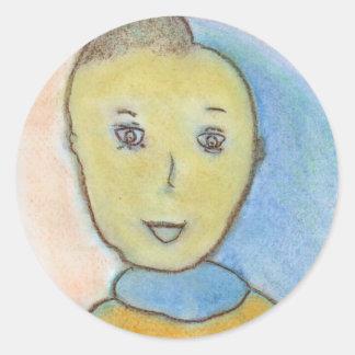 Barack, Chalk Drawing, Art Round Sticker