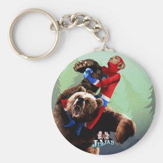 Barack fights a bear basic round button key ring