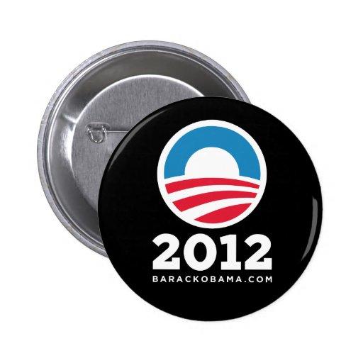 """Barack Obama 2012 """"O"""" Logo (Black) 6 Cm Round Badge"""