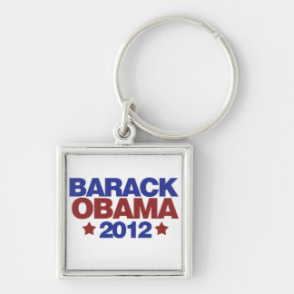 Barack Obama 2012 Silver-Colored Square Key Ring