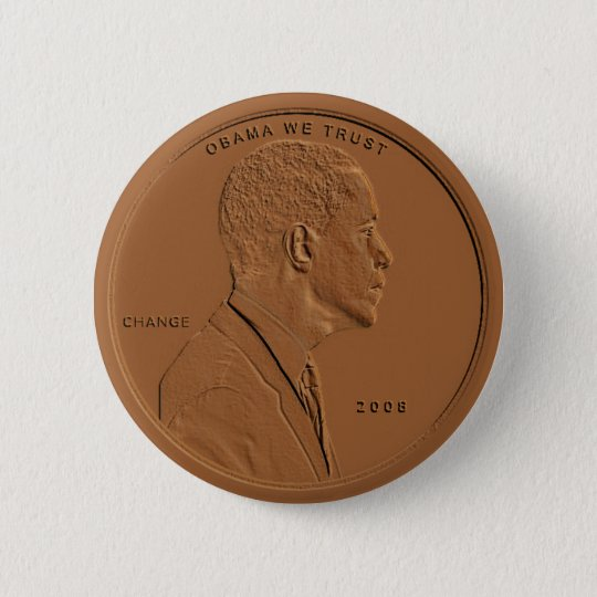 Barack Obama Bronze Penny Circular Button