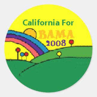 Barack Obama California Rainbow Round Sticker