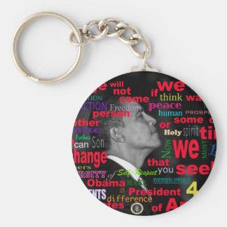 Barack Obama Change quote Basic Round Button Key Ring