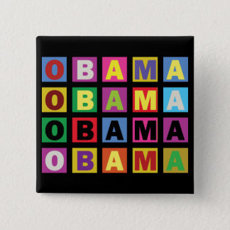 Barack Obama Colorful Rainbow 15 Cm Square Badge