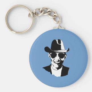 Barack Obama cowboy gear Basic Round Button Key Ring