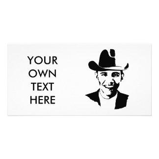 Barack Obama cowboy hat Customized Photo Card