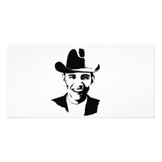 Barack Obama cowboy hat Personalized Photo Card