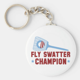Barack Obama: Fly Swatter Champion Basic Round Button Key Ring