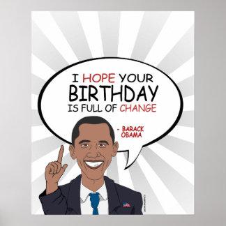 Barack Obama Greeting - Happy Birthday Poster