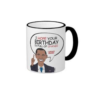 Barack Obama Greeting - Happy Birthday Ringer Mug