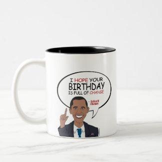 Barack Obama Greeting - Happy Birthday Two-Tone Mug