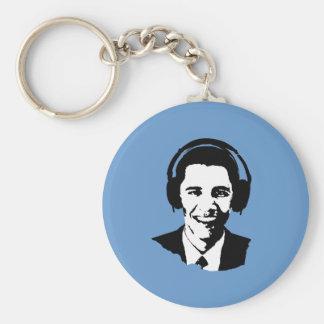 Barack Obama headphones Basic Round Button Key Ring