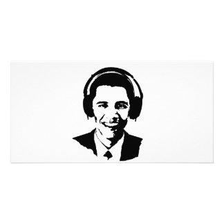 Barack Obama headphones Picture Card
