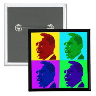 Barack Obama in Living Color (Foursquare Button) 15 Cm Square Badge