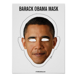 Barack Obama Mask Cutout Poster