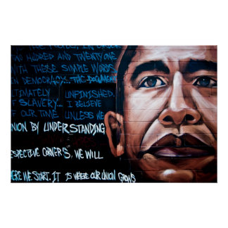 Barack Obama Mural & Speech, Brooklyn, New York Poster