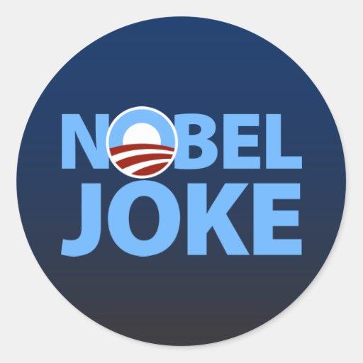 Barack Obama: Nobel Joke Round Sticker
