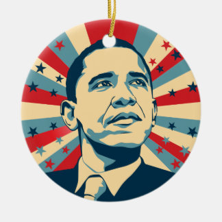 Barack Obama Round Ceramic Decoration