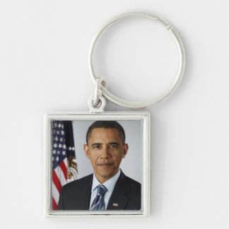 Barack Obama Silver-Colored Square Key Ring
