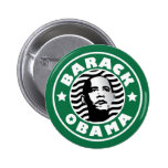 Barack Obama Star Caffeine Pinback Button