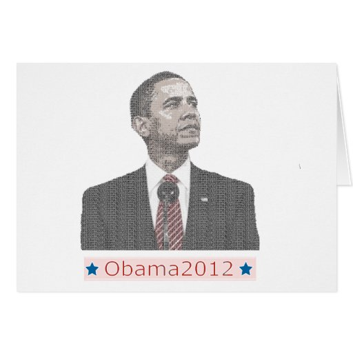 Barack Obama Text Portrait 2012 Greeting Cards