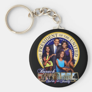 BARACK OBAMA The first family Basic Round Button Key Ring