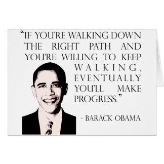 Barack Obama walking the right path greeting card