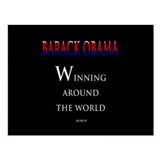 Barack  Obama Winning Around the World Postcard