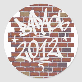 Barack Obama writing on the wall Grafitti Round Stickers
