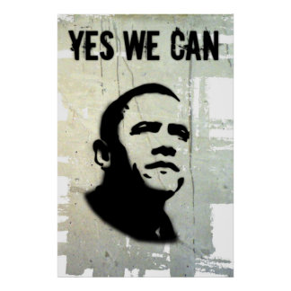 Barack Obama:YES WE CAN(Stencil) Poster