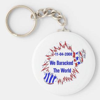 Baracked The World Basic Round Button Key Ring
