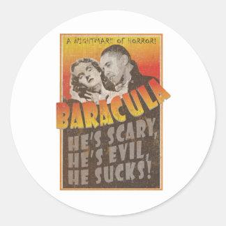 Baracula - Barack Obama Movie Poster Round Sticker