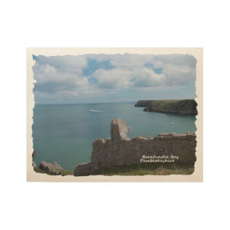 Barafundle Bay, Pembrokeshire - wood poster. Wood Poster