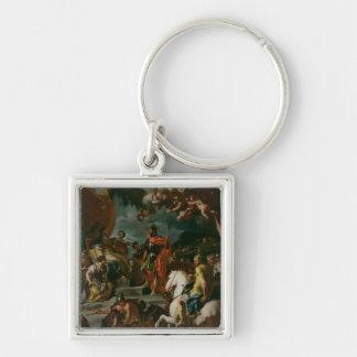 Barak and Deborah Silver-Colored Square Key Ring