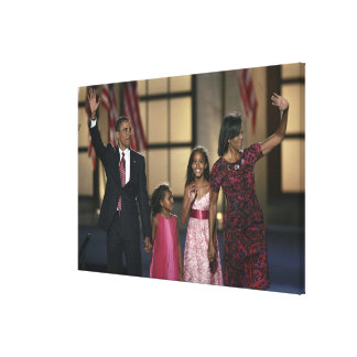 Barak Obama family wave at the last night of Stretched Canvas Print