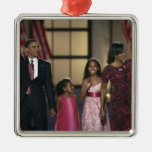 Barak Obama family wave at the last night of Silver-Colored Square Decoration