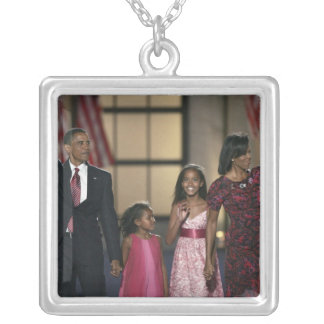Barak Obama family wave at the last night of Square Pendant Necklace
