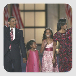 Barak Obama family wave at the last night of Square Sticker