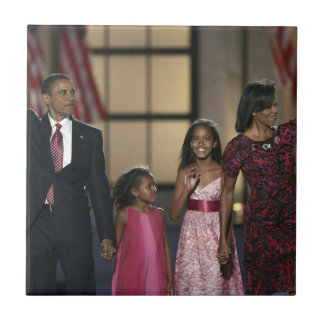 Barak Obama family wave Small Square Tile