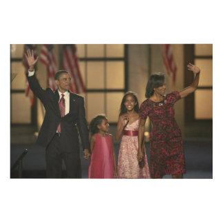 Barak Obama family wave Wood Canvas