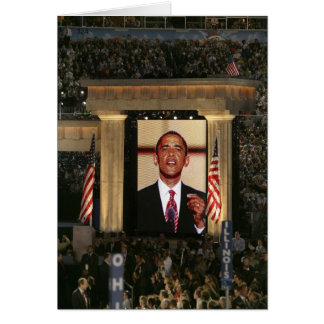Barak Obama speaks at the last night of the Greeting Card