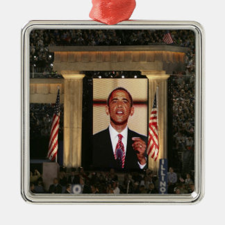 Barak Obama speaks at the last night of the Silver-Colored Square Decoration