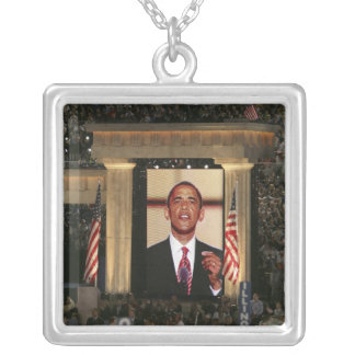 Barak Obama speaks at the last night of the Square Pendant Necklace