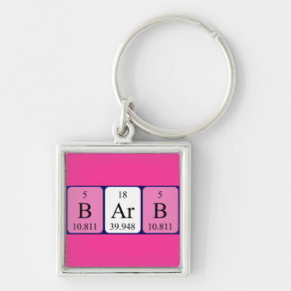 Barb periodic table name keyring Silver-Colored square key ring